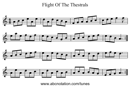 Flight Of The Thestrals - staff notation