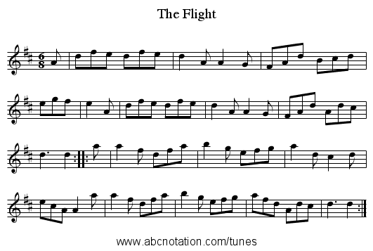 Flight, The - staff notation