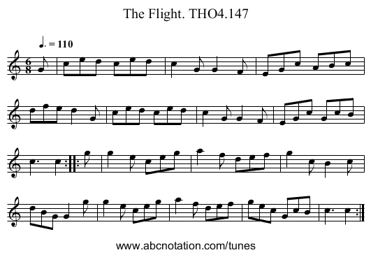 Flight. THO4.147, The - staff notation