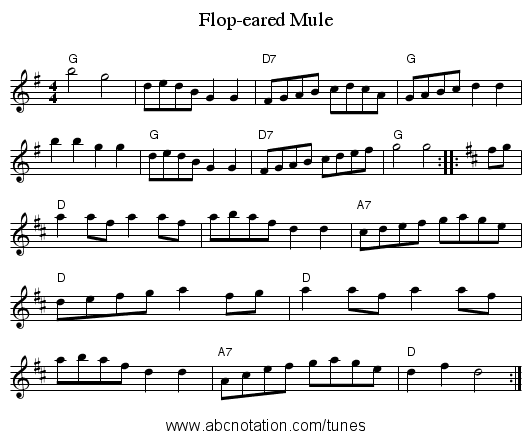 Flop-eared Mule - staff notation