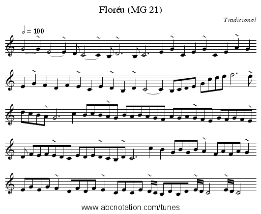 Floréu (MG 21) - staff notation