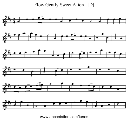 Flow Gently Sweet Afton   [D] - staff notation