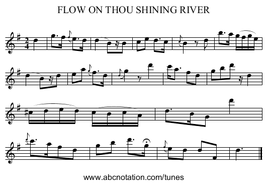 FLOW ON THOU SHINING RIVER - staff notation