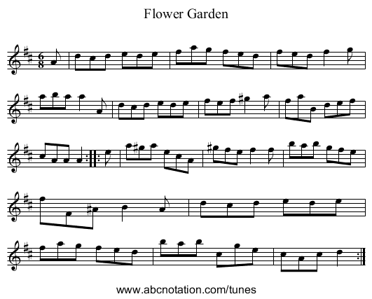 Flower Garden - staff notation
