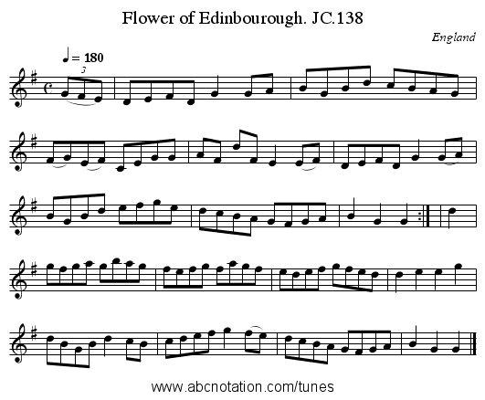 Flower of Edinbourough. JC.138 - staff notation