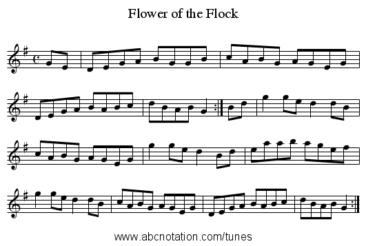 Flower of the Flock - staff notation