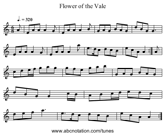 Flower of the Vale - staff notation