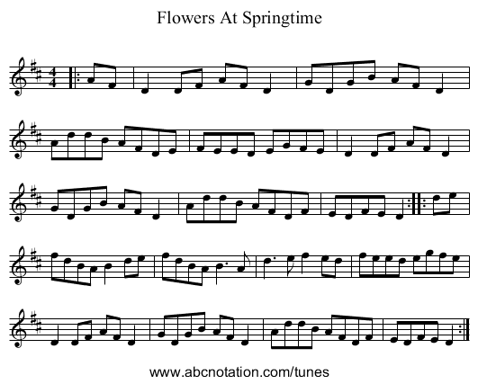 Flowers At Springtime - staff notation