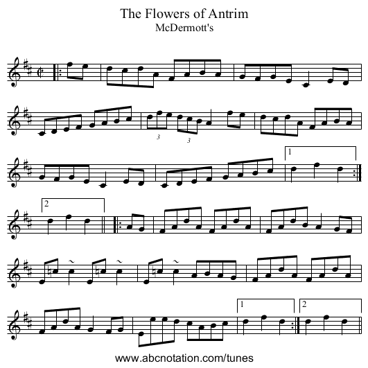 Flowers of Antrim, The - staff notation