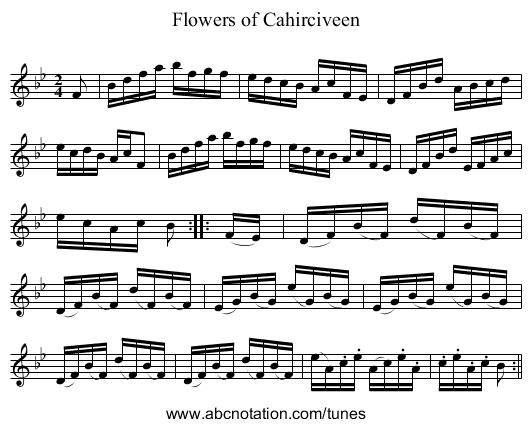 Flowers of Cahirciveen - staff notation