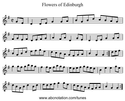 Flowers of Edinburgh - staff notation