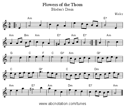 Flowers of the Thorn - staff notation