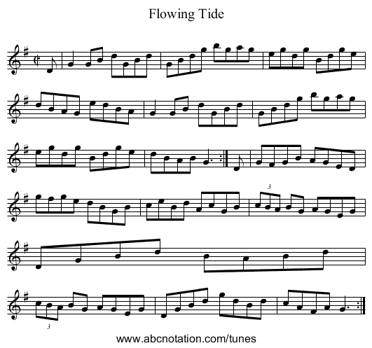 Flowing Tide - staff notation