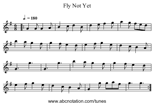 Fly Not Yet - staff notation