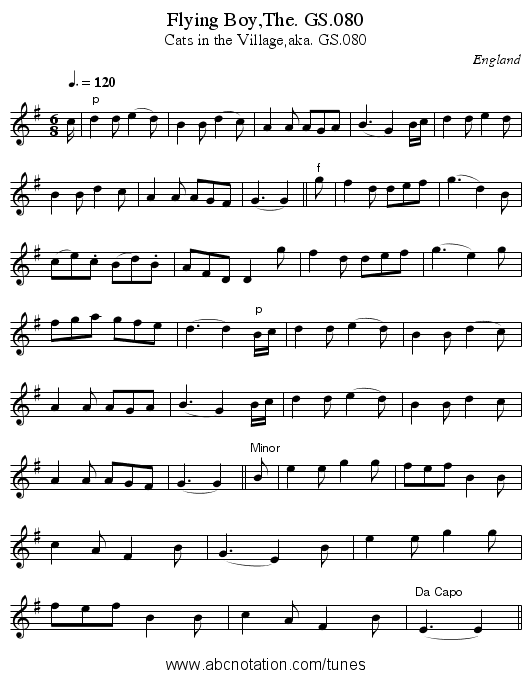 Flying Boy,The. GS.080 - staff notation