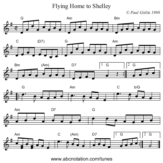 Flying Home to Shelley - staff notation