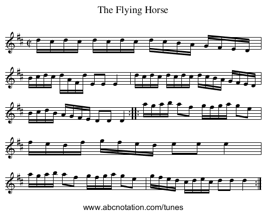 Flying Horse, The - staff notation