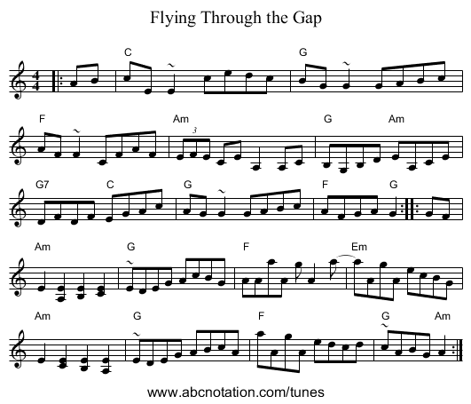 Flying Through the Gap - staff notation