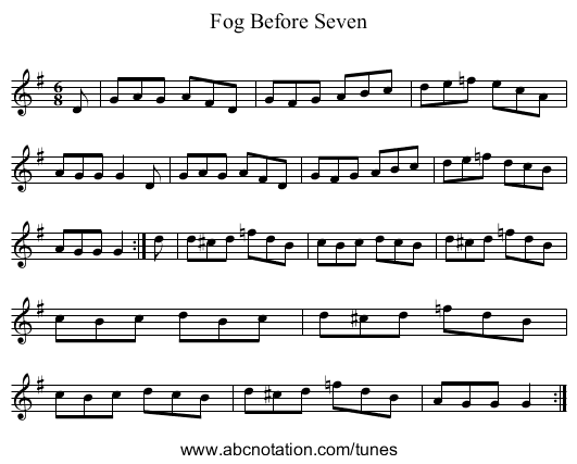 Fog Before Seven - staff notation