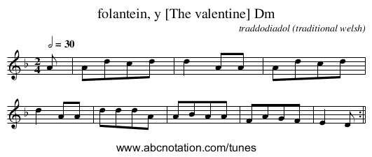 folantein, y [The valentine] Dm - staff notation