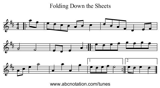 Folding Down the Sheets - staff notation