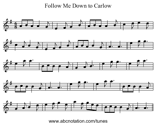 Follow Me Down to Carlow - staff notation