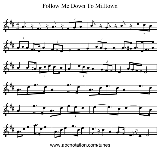 Follow Me Down To Milltown - staff notation