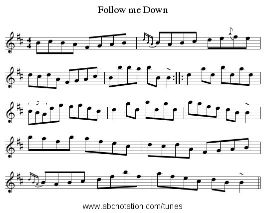 Follow me Down - staff notation