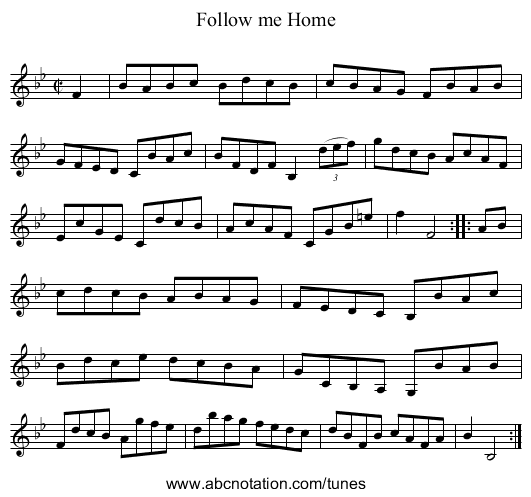 Follow me Home - staff notation