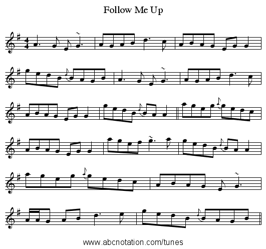 Follow Me Up - staff notation