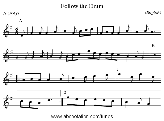 Follow the Drum - staff notation