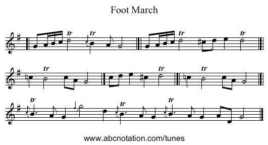 Foot March - staff notation