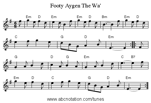 Footy Aygen The Wa' - staff notation