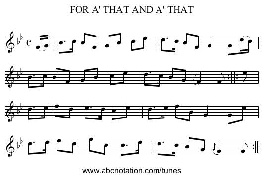 FOR A' THAT AND A' THAT - staff notation