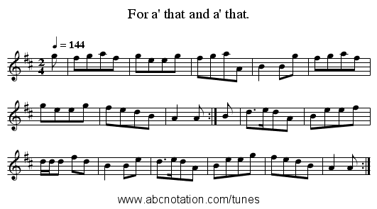 For a' that and a' that. - staff notation