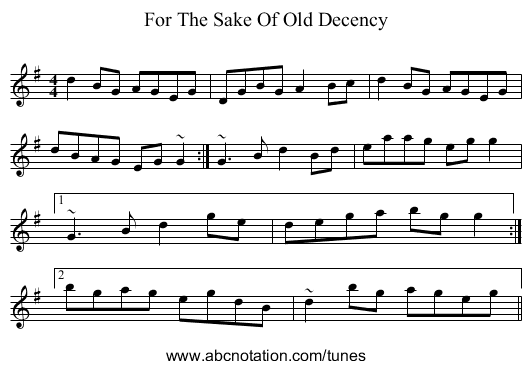 For The Sake Of Old Decency - staff notation
