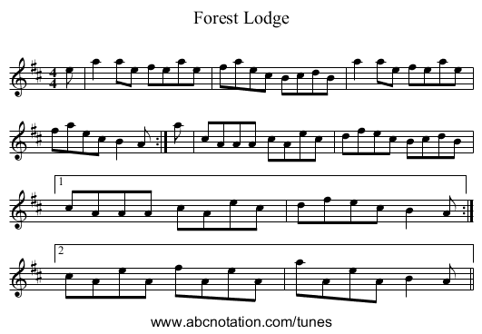 Forest Lodge - staff notation