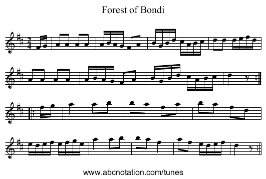 Forest of Bondi - staff notation