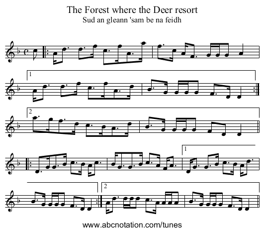 Forest where the Deer resort, The - staff notation