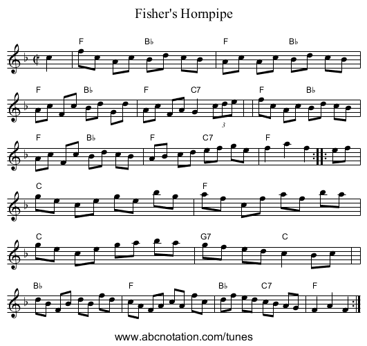 Forester's Hornpipe - staff notation