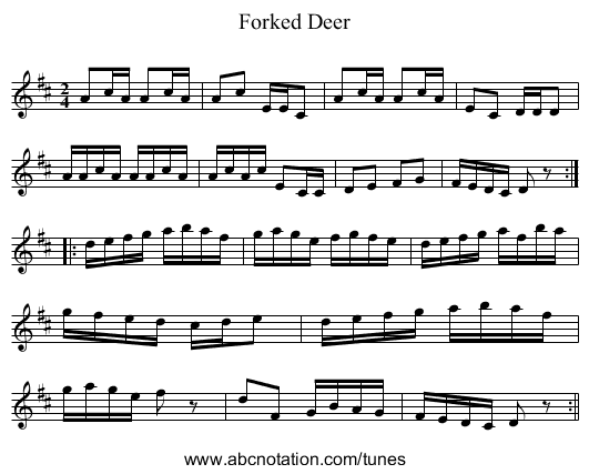 Forked Deer - staff notation