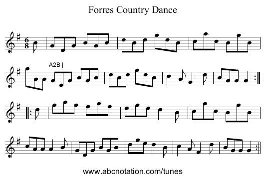 Forres Country Dance - staff notation
