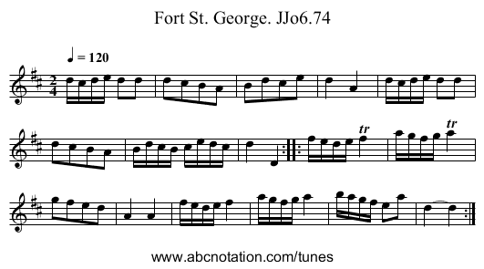 Fort St. George. JJo6.74 - staff notation