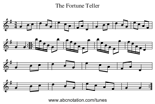 Fortune Teller, The - staff notation
