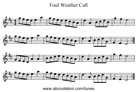 Foul Weather Call - staff notation