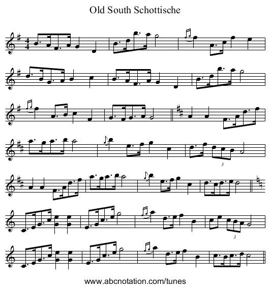 Four and Twenty - staff notation