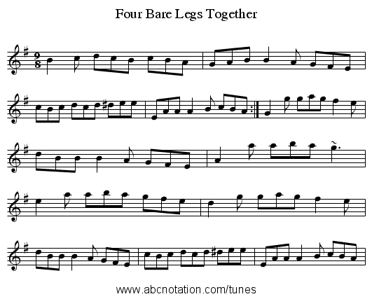 Four Bare Legs Together - staff notation