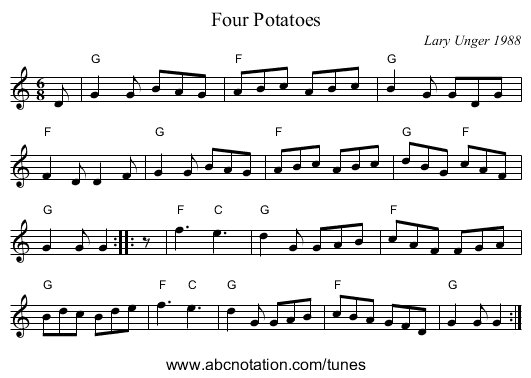 Four Potatoes - staff notation