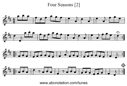 Four Seasons [2] - staff notation
