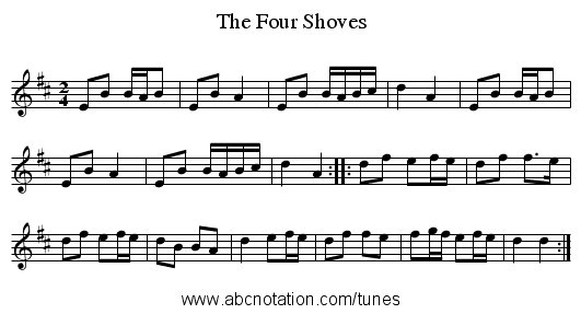 Four Shoves, The - staff notation